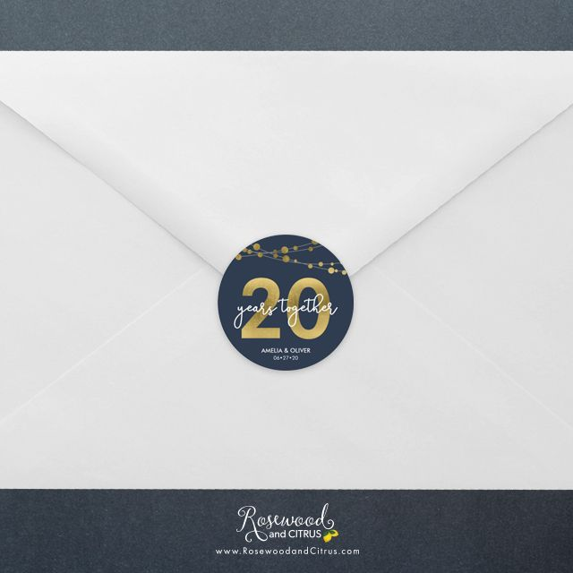 Blue Elegant Strings of Lights 20th Anniversary Round Sticker by Rosewood and Citrus on Zazzle #20thanniversarywedding