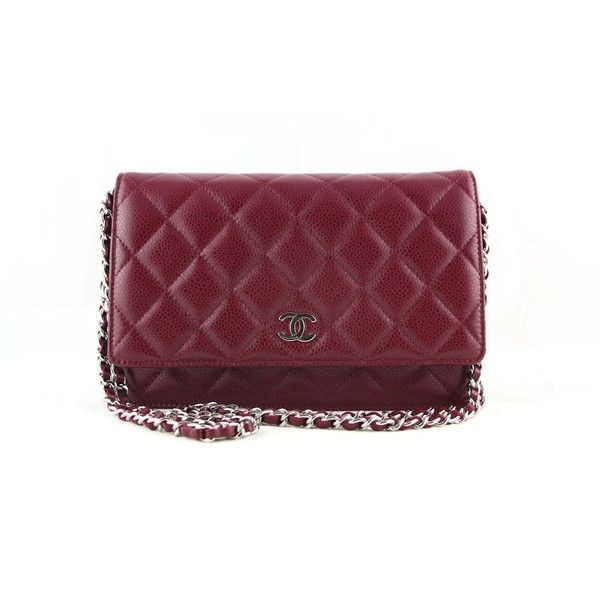 1e58ef691 Chanel Raspberry Red Caviar Classic Quilted WOC Wallet Chain Purse Bag...  (6.255 HRK) ❤ liked on Polyvore featuring bags, quilted bag, purple bag, ...