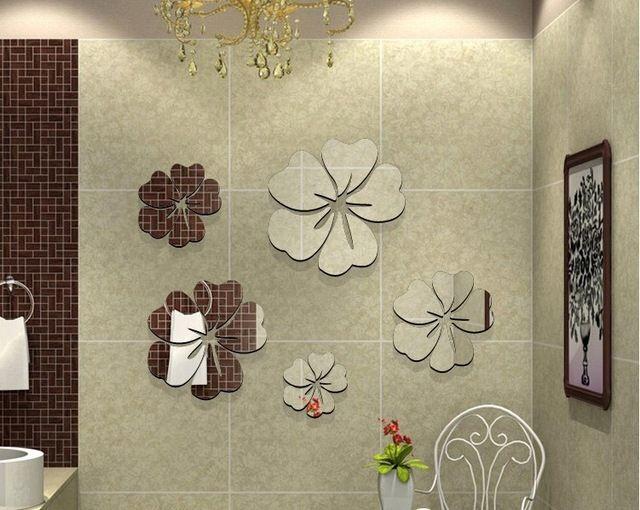 Fleurs d\u0027hibiscus bricolage décoration de la maison mur miroir