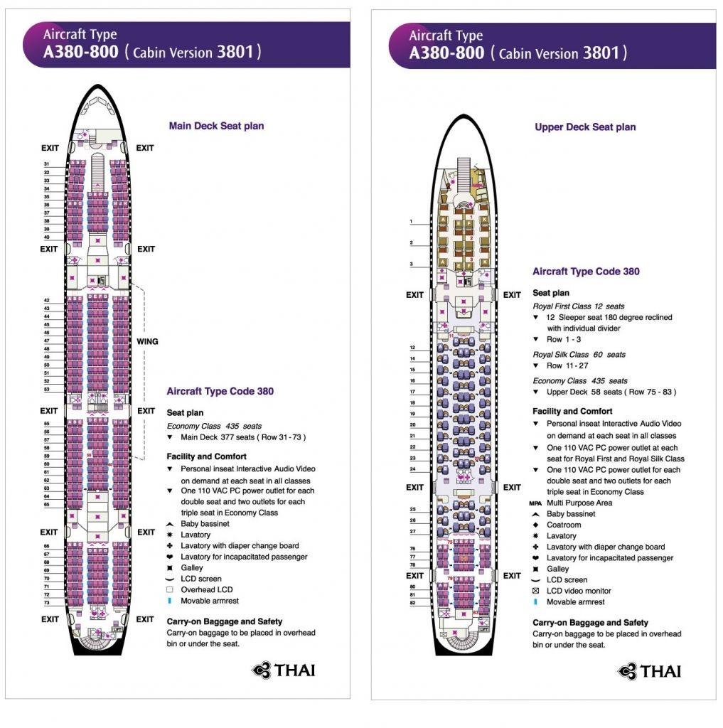 Fine Thai Airways Airbus A380 Seating Plan