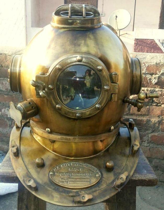 """X-Mas Antique 18/"""" Hanging Lamp Diving Helmet U.S Navy Deep Sea Divers Helmet"""