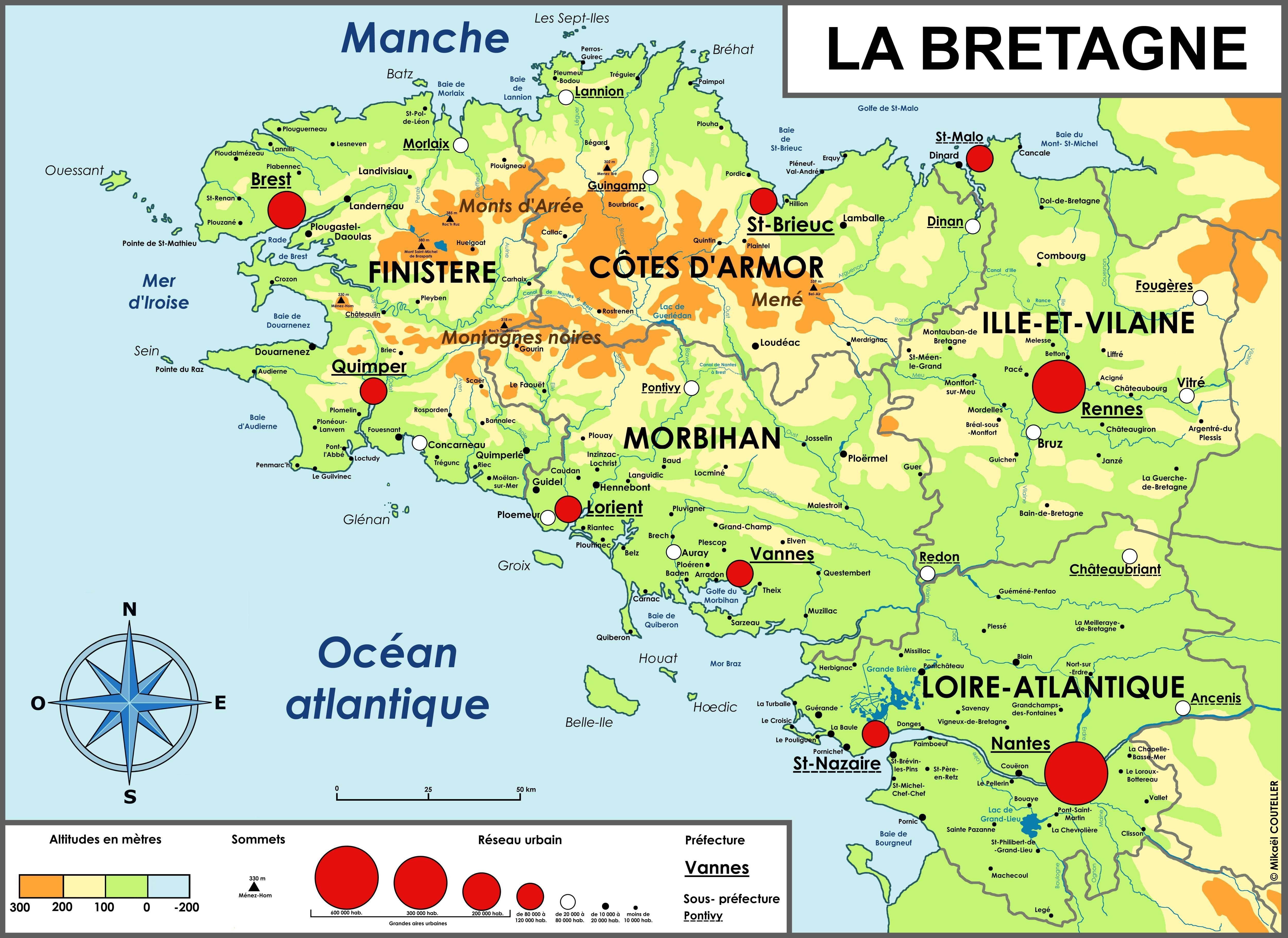 Carte Bretagne villes