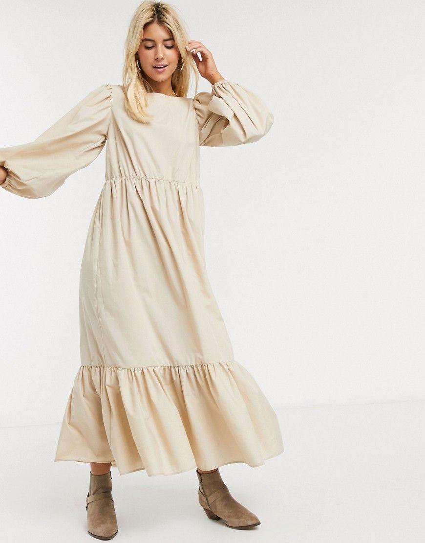 Asos Design Asos Design Casual Cotton Maxi Dress With Puff Sleeves In Stone Beige Asosdesign Clo Maxi Dress Cotton Maxi Dress Evening Long Sleeve Maxi Dress [ 1110 x 870 Pixel ]
