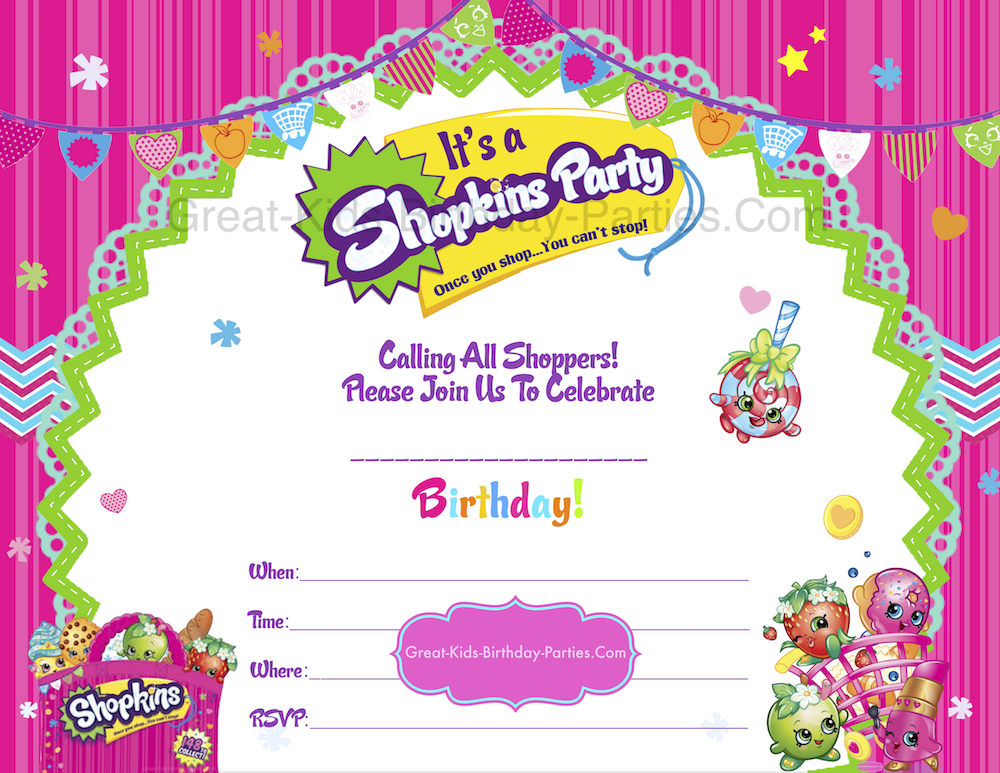 Free Shopkins Invitations Visit us at GreatKidsBirthday – Free Kids Birthday Invites