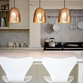 Copper Hammered Trio Pendant Lights Beautiful Kitchens Kitchen Design Home