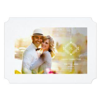 Hanging Monogram Christmas Holiday Photo Greetings 5x7 Paper Invitation Card