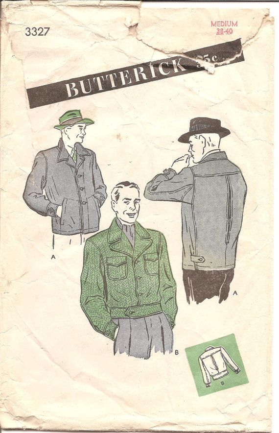 RARE 1940s Mens Sports Jacket Butterick 3327 by ErikawithaK | Man ...