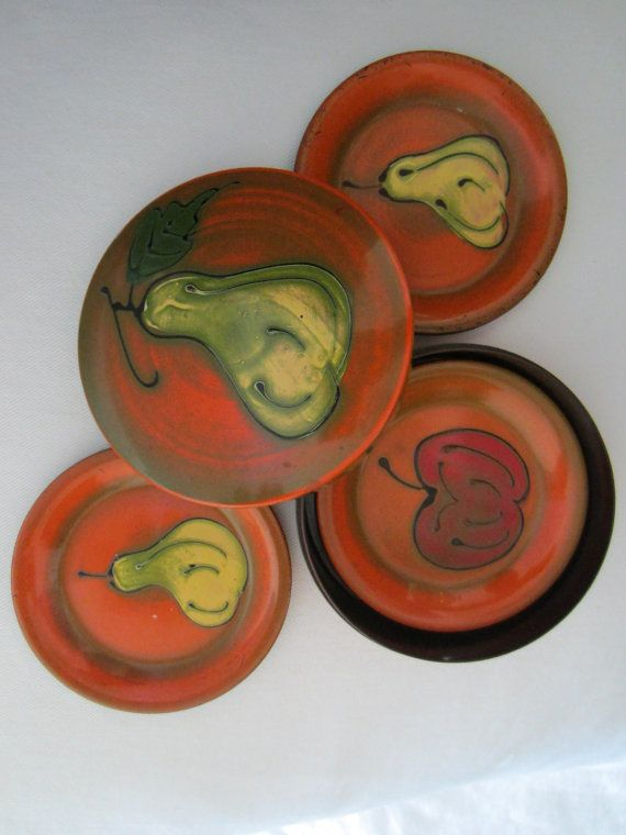 Lacquered Japanese Coasters Nesting Orange by designeruniquefinds
