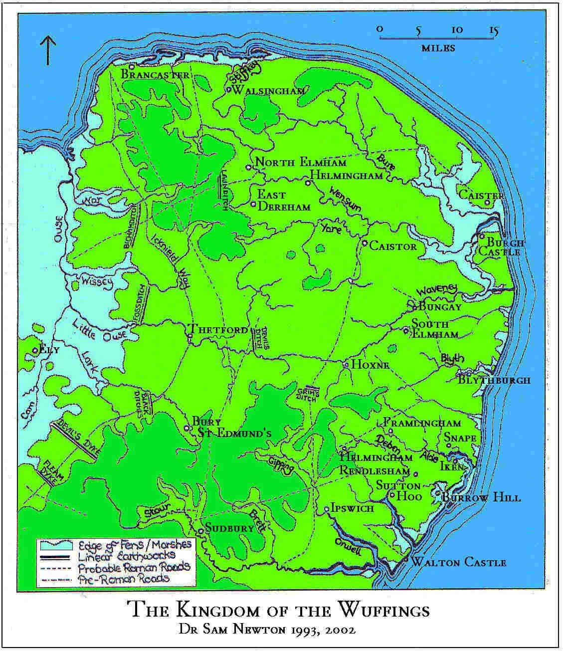 Wuffingas Wuffings Possible Map An Anglo Saxon Kingdom