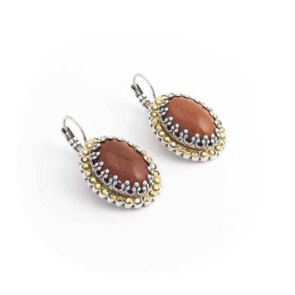 Mariana Ovale oorbellen met goudsteen en een omlijsting van goudkleurige Swarovski kristallen