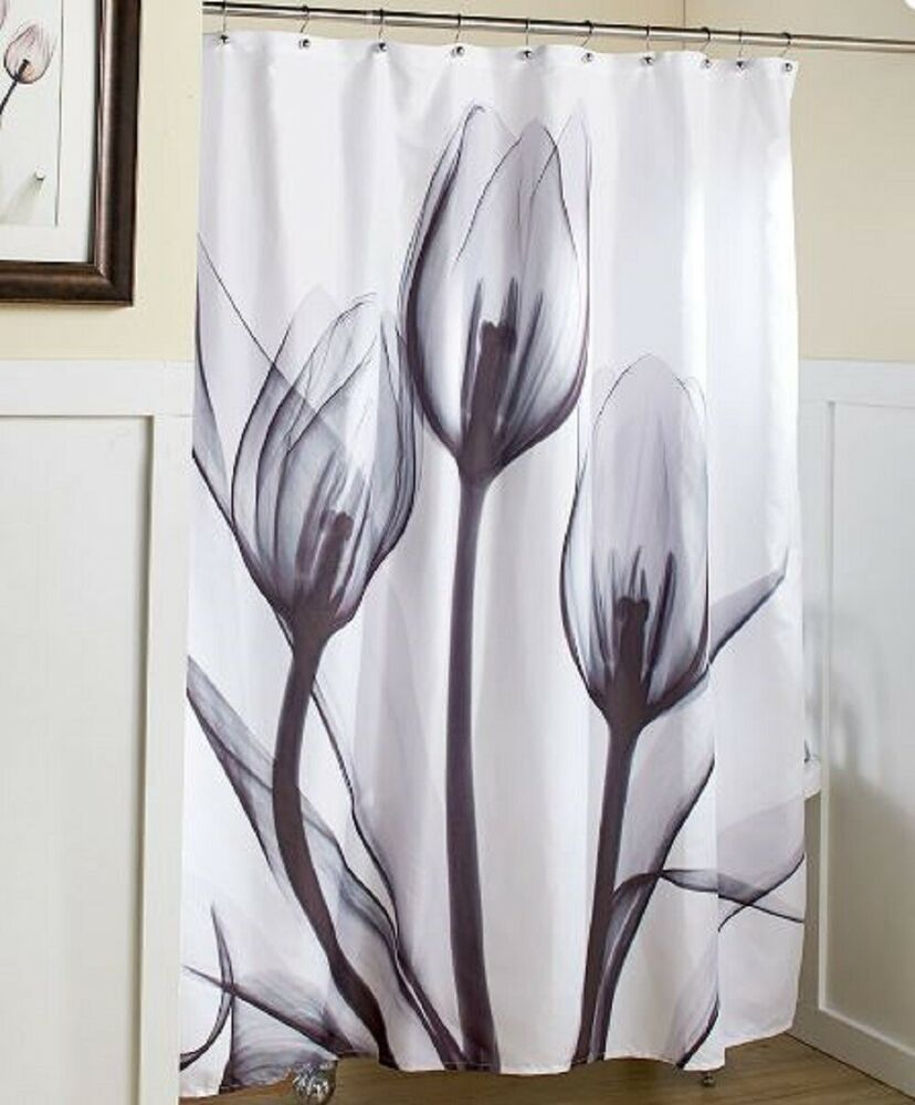 Gray Tulip Shower Curtain Bath Tub Bathroom Artwork Country Floral