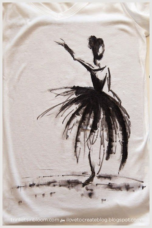 Diy Watercolor Ballerina Tee Paint Shirts Diy Shirt T Shirt