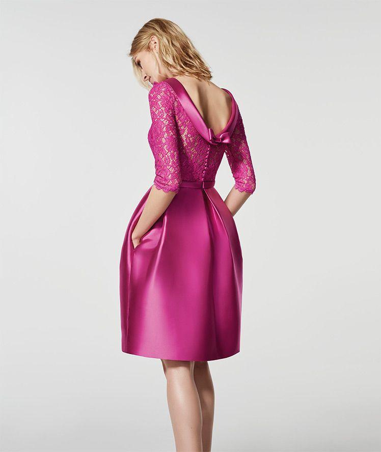 Foto del vestido rosa 62075 - GLACE corto manga tres cuartos escote ...