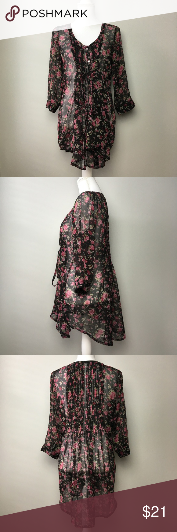 Kimchi blue black floral sheer sleeve blouse in my posh