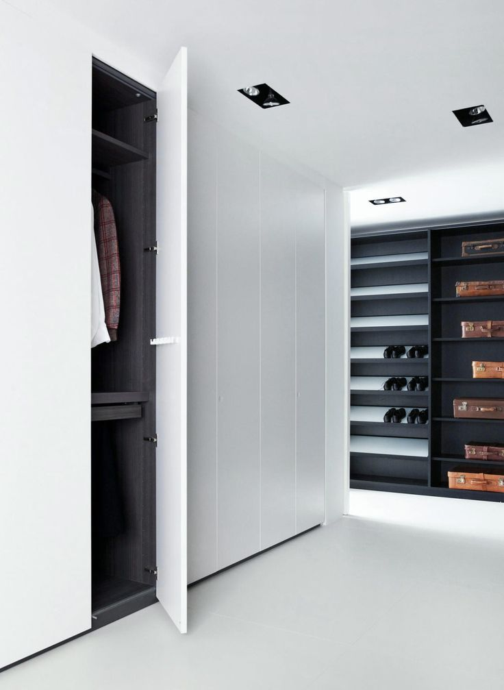 Modern Walk In Closet White Sleek Doors Recessed Lighting