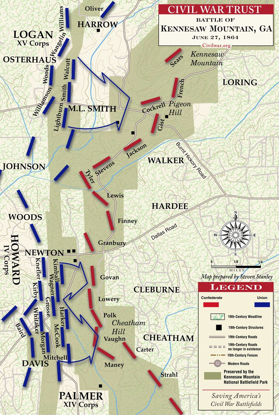 Battle Of Kennesaw Mountain Map June   Our June - Map of atlanta civil war