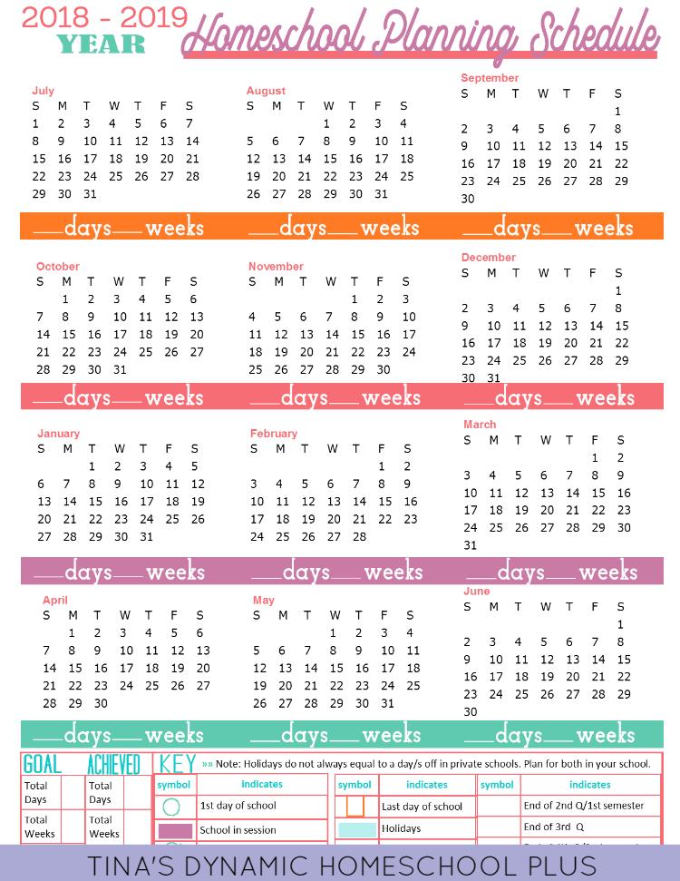 Year Round Calendar 2019 Free 2018 2019 Year Round Homeschool Planning Form (Sunset