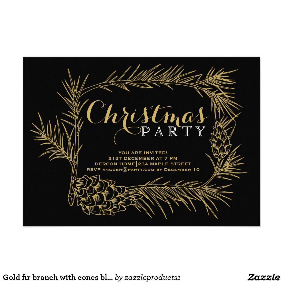 Christmas Party Ideas For Small Business Part - 30: Classy And Elegant Gold Fir Branch With Cones Black Christmas Party 5x7  Paper Invitation Card