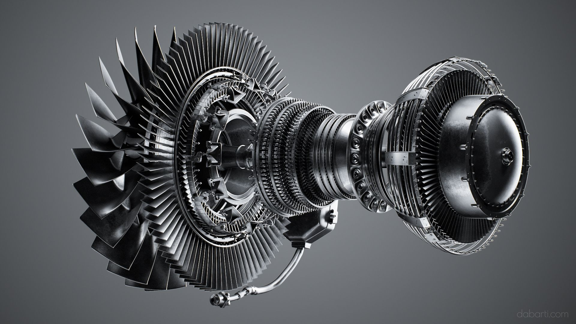 Highly detailed model of Jet Engine CFM56 created at ...