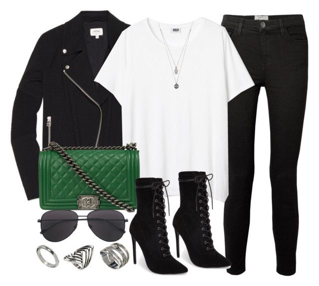 """""""Green Bag #2"""" by vany-alvarado ❤ liked on Polyvore featuring Current/Elliott, Wilfred, Chanel, Steve Madden, ASOS and Judith Ripka"""