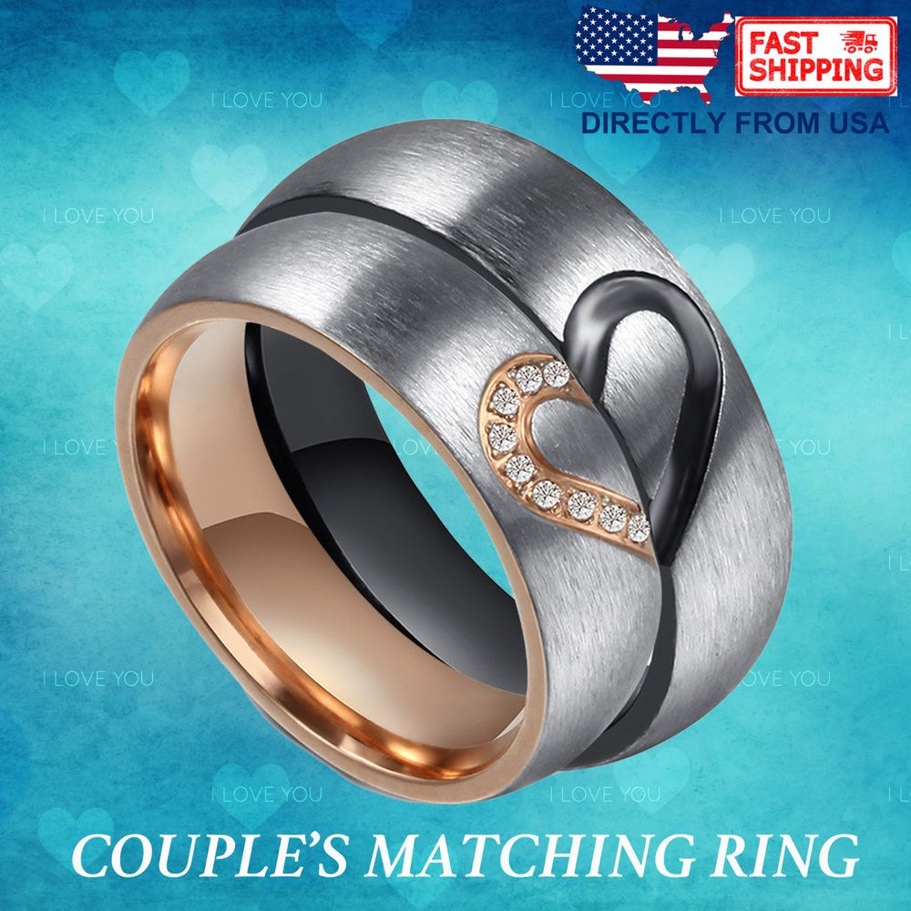 Couple's Matching Heart Ring, His and Hers Wedding Band
