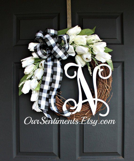 Photo of Spring wreath – White tulips – Initial wreath – Wine wreath – Etsy wreath – Wreaths for …