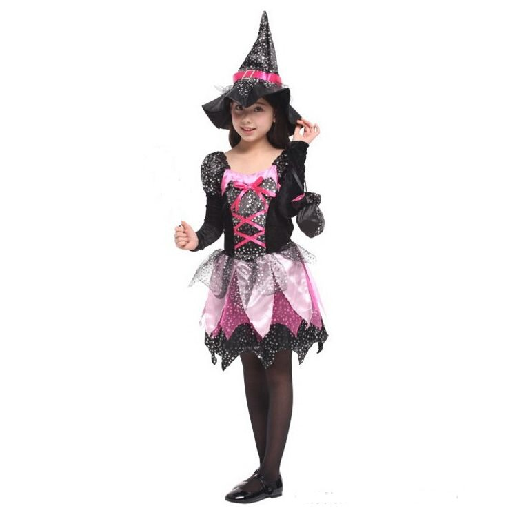 Kid Girl Witch Costume Themed Party Carnival Cosplay Fancy Dress Outfit Wand Bag