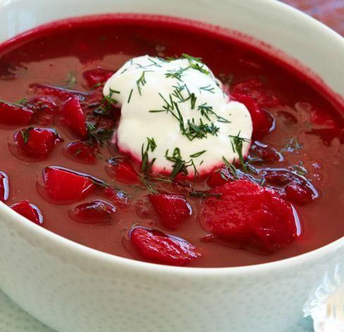 Photo of Borsch, typical Ukrainian beet soup.