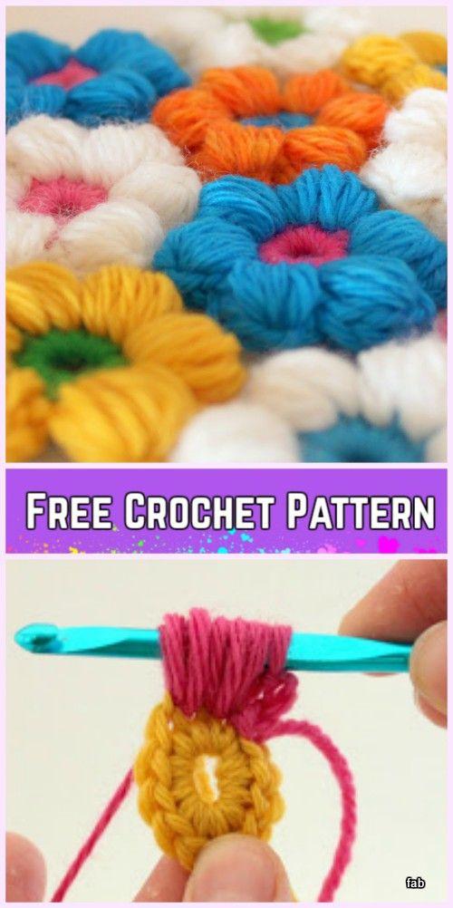 Crochet Puff Stitch Flower Blanket Free Pattern | Free pattern ...