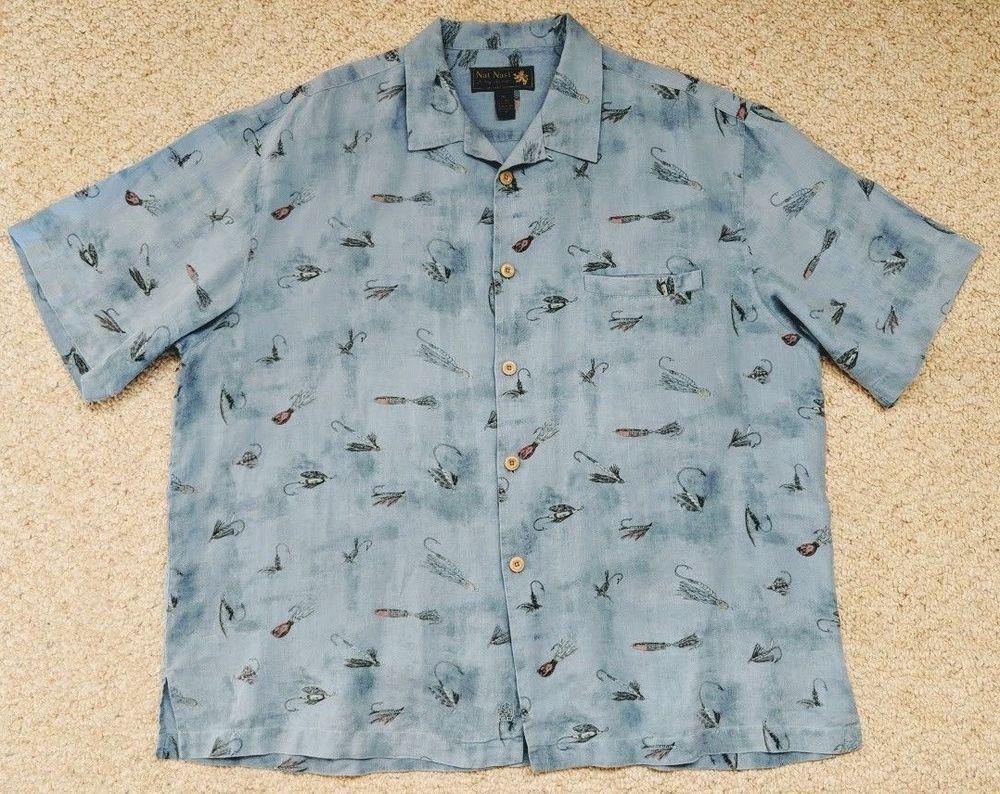 e9909d7f Linen Camp Shirt Mens XL NAT NAST Luxury Originals Fishing Lures #NatNast  #ButtonFront