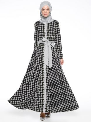b1d655052825a Boydan Düğmeli Abiye Elbise - Siyah | Tesettür Boydan Elbise ...