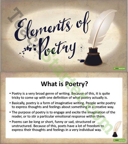 Elements of Poetry PowerPoint Teaching Resource Writing  Grammar
