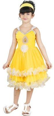 98543988ee2 FTC Bazar Girl's Empire Waist Yellow Dress - Buy Yellow FTC Bazar ...
