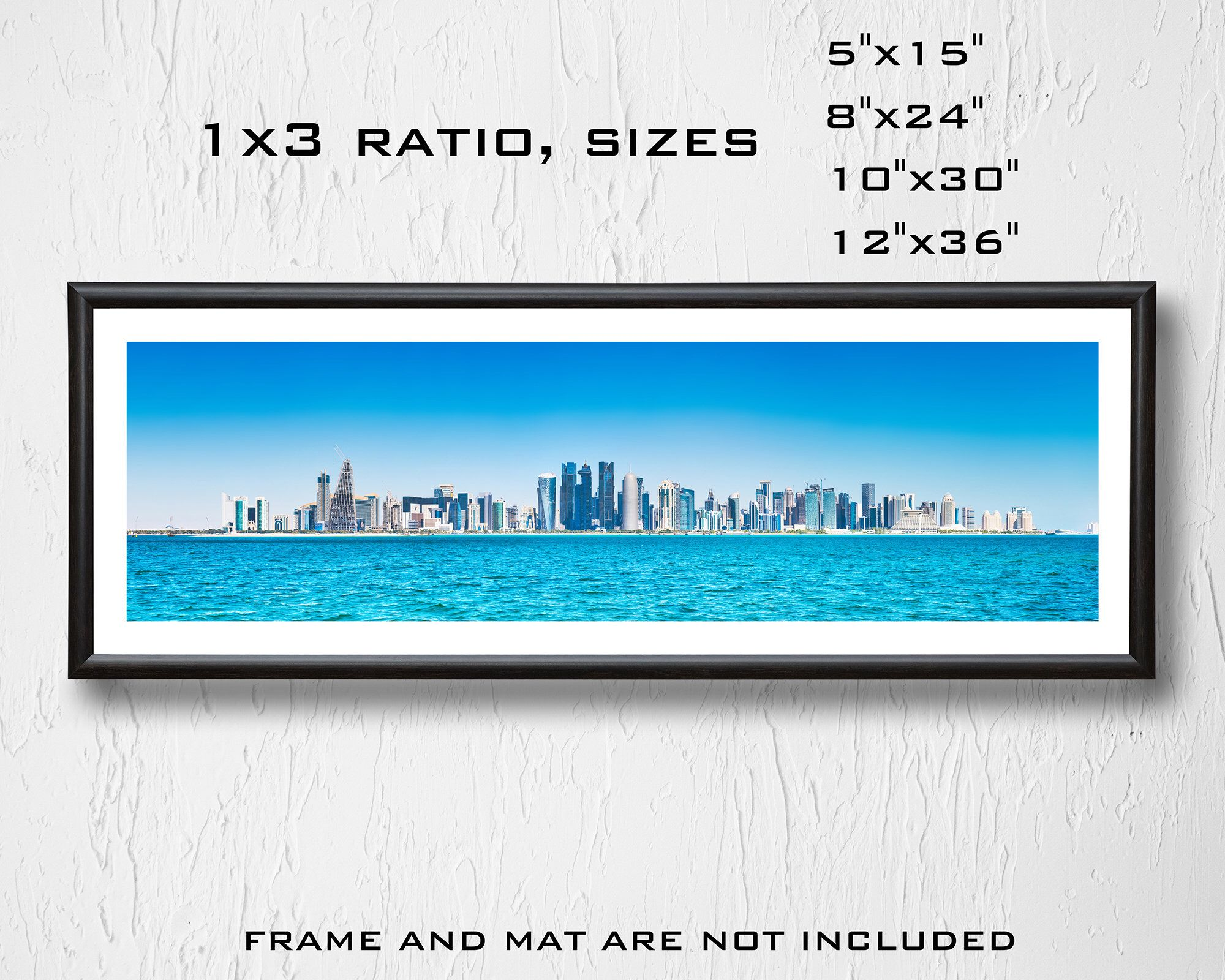 7 99usd Only Panorama Of City Of Doha Qatar Downtown With Skyscrapers View From Sea Bay Panorama City Prints Panoramic Print