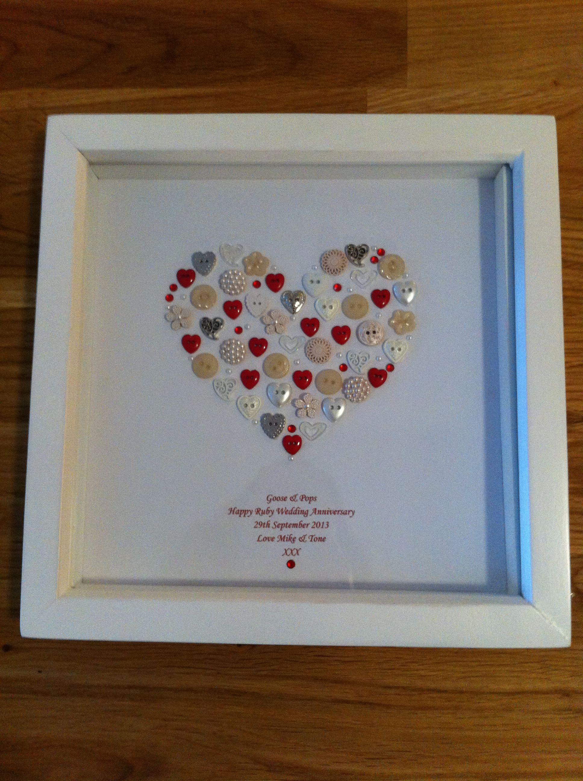 Framed Heart Button Artwork Personalised For A Ruby Wedding