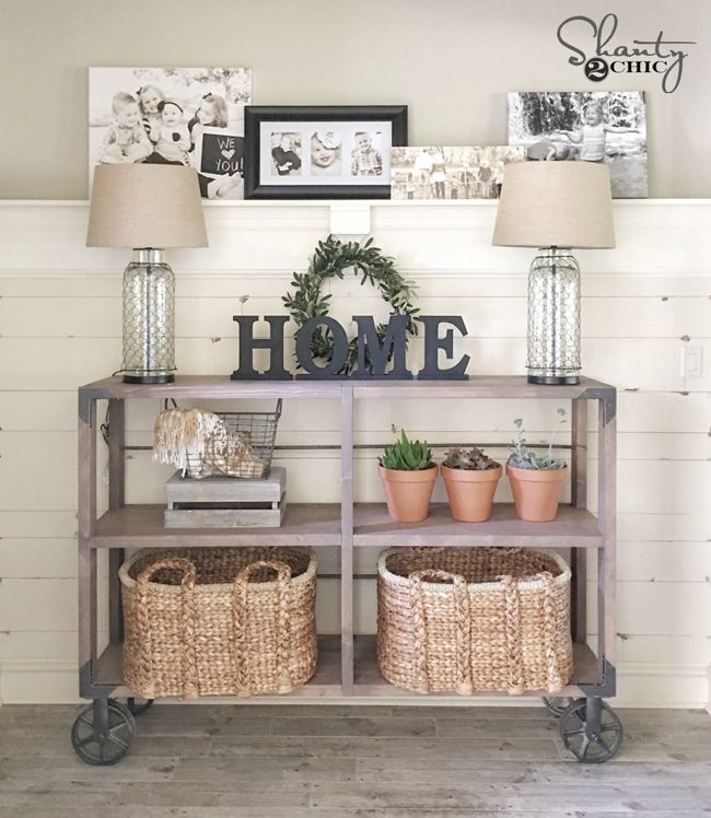 43 Beautiful Rustic Entryway Decoration Ideas: DIY Industrial Cart Console Table