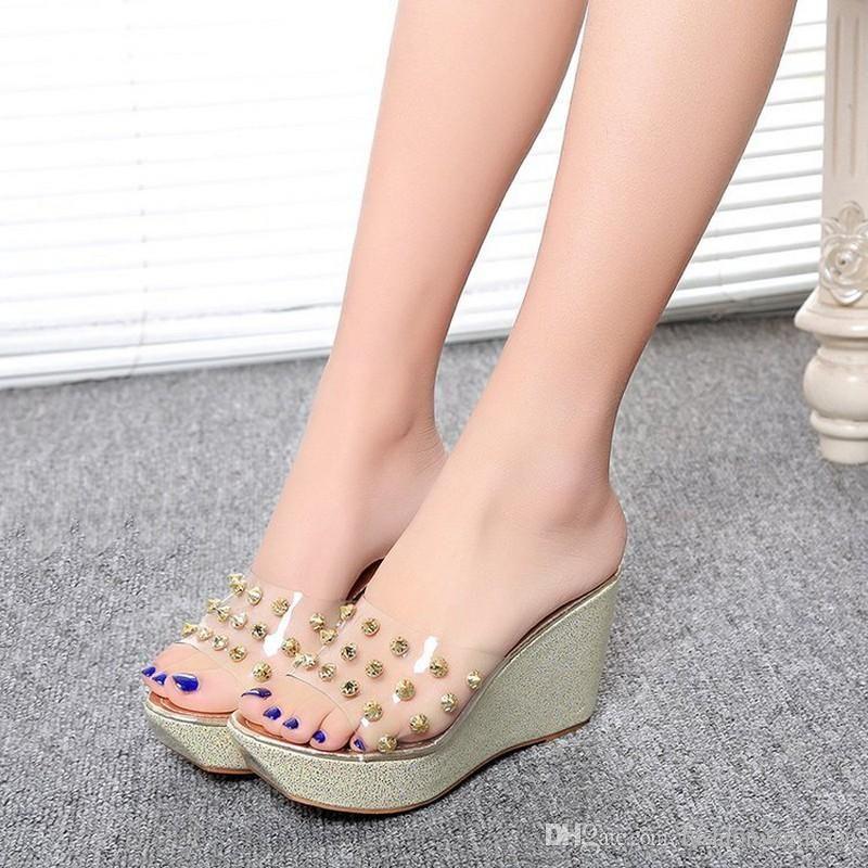 c22577f28e9 wedges heels Designer Korean Summer Wedges Heels Clear PVC Open Toe Glitter  Women High Heel Wedge