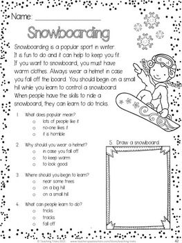 winter activities winter reading comprehension passages and questions classroom ideas. Black Bedroom Furniture Sets. Home Design Ideas