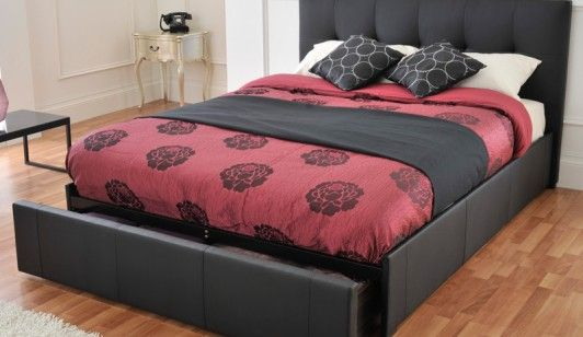 Bensons for Beds Rialto Black Faux Leather Bed Frame Bed