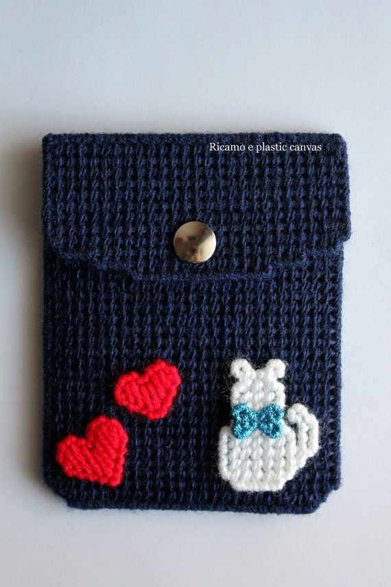 Women card wallet, cash wallet with white cat, blue credit card ...