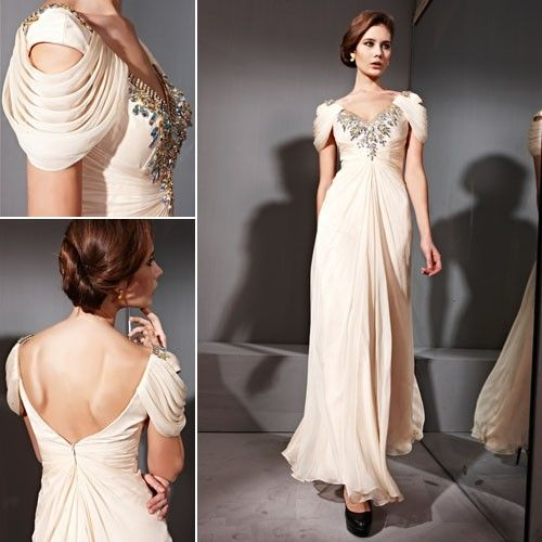 Beautiful Couture Cream Beaded Neckline & Cowl Sleeves Evening ...