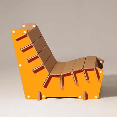#Anita is a #cardboard #armchair available in #orange and many other colours. #design #home #furniture #ecoandyou