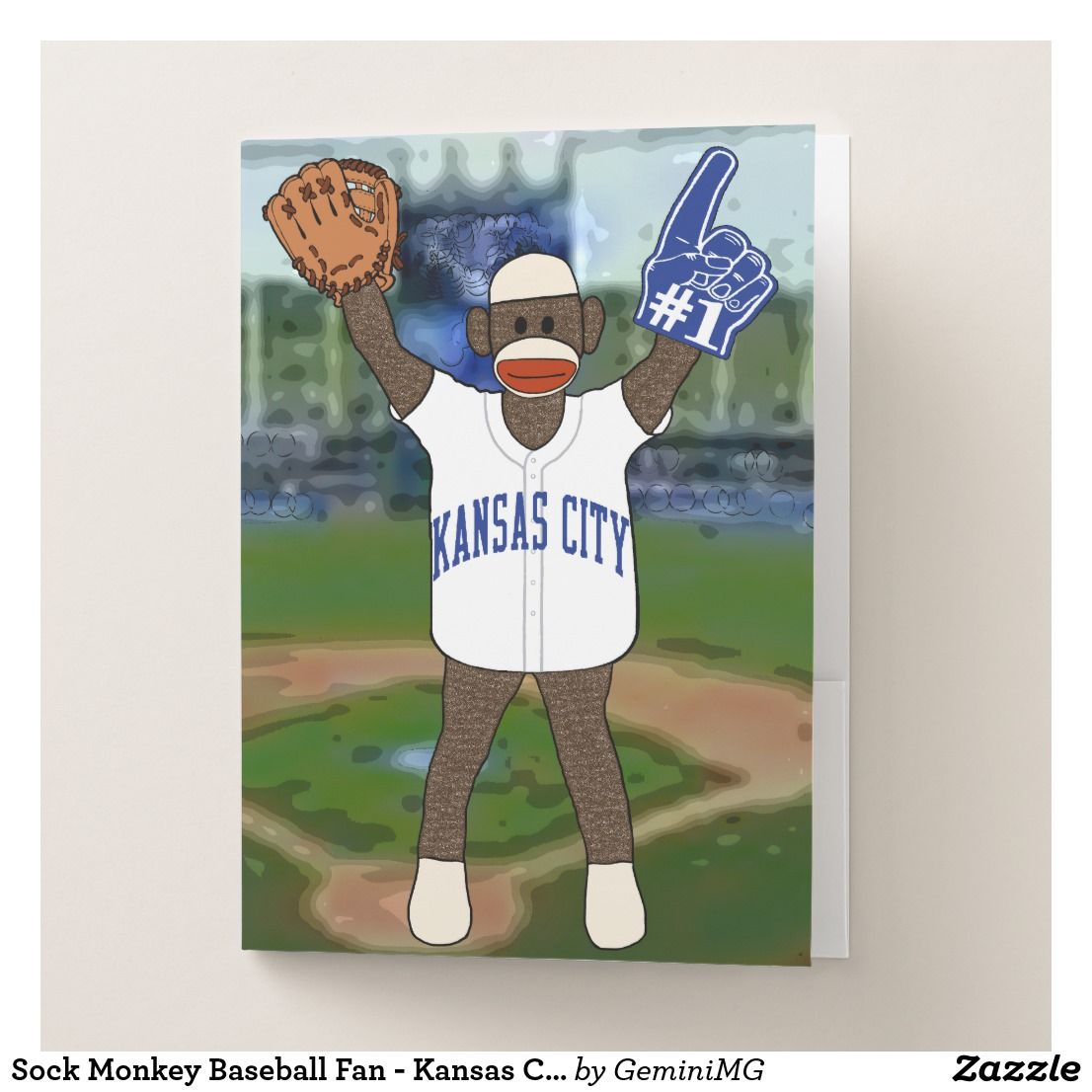 Sock Monkey Baseball Fan - Kansas City Pocket Folder | Zazzle.com #sockmoneky