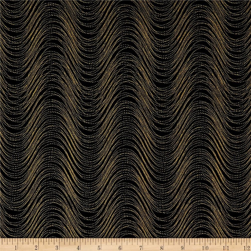 Kanvas Pansy Noir Wind Wave Black Gold Metallic From Fabricdotcom Designed By Kanvas For Benartex This Cotton Print Fabric Is Perfect For Quilting A Benartex