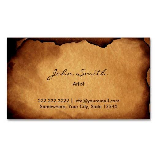 Vintage Old Burned Paper Artist Business Card Templates Art