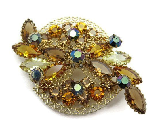 c902cb6eebdc Rhinestone Brooch - Topaz, AB Rhinestones, Open Back, Costume Jewelry, Fall  Colors