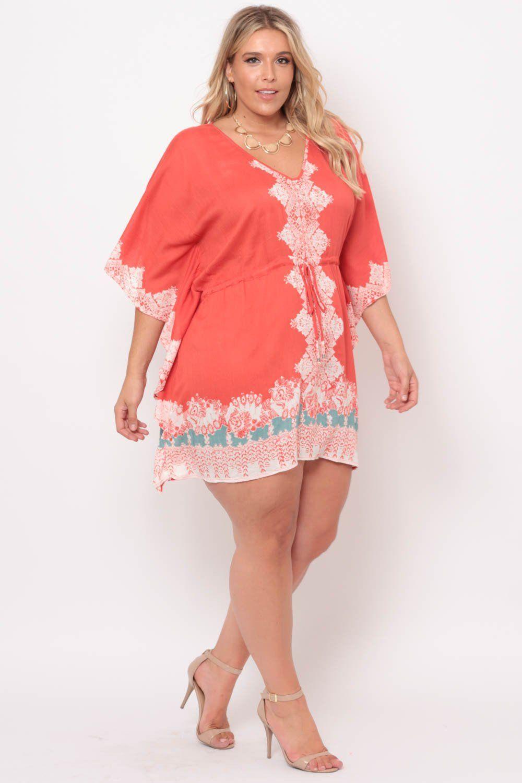 Plus Size Dolman Border Print Dress- Coral | Estilo para chicas con ...