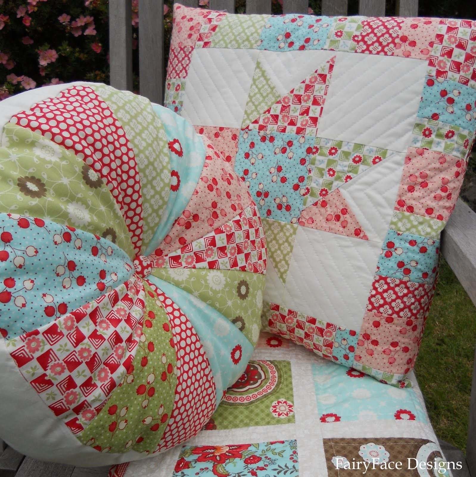 """""""Bliss"""" cushions and quilt"""