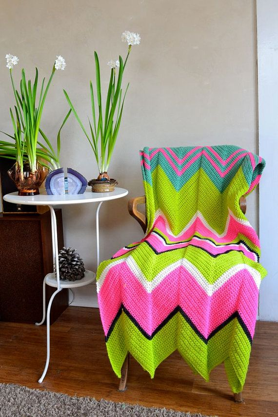 Psychedelic Zigzag Afghan Wool Bohemian Neon Pink Lime Green Large ...