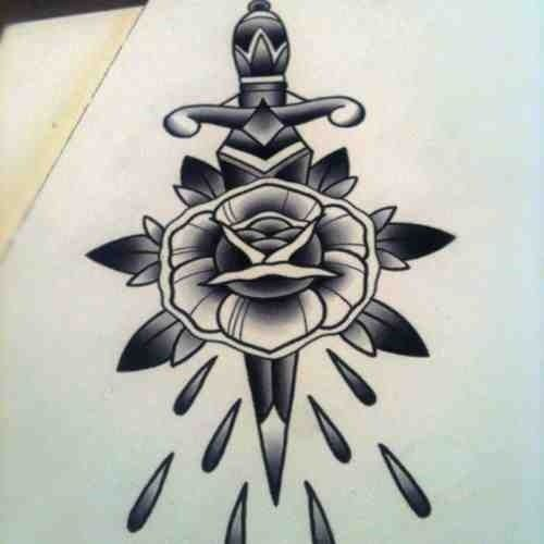 Dagger X Rose Tattoo Design Tattoo Tattoodesign Oldschool Traditional Rose Dagger Neotraditional Adagas Tattoo Tatuagens De Setas Tatuagem Old School